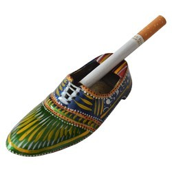 Brass Shoe Ashtray With Meena Work
