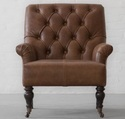 Vintage Chestnut Genuine Leather Single Seater Sofa