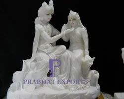 Marble Radha Krishna Statue with Base