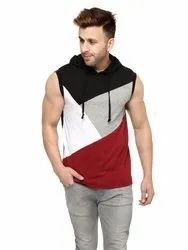 Male Casual Wear Black/Maroon Solid Hooded Vest, Size: S to XL