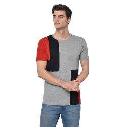 Vimal Jonney Cotton Blended Regular Sleeve Crew Neck fashion style Grey Color T-Shirt For Men's