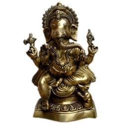 Golden (Gold Plated) Brass Ganesha Statue Lord Ganesha Idol made by Manufacturer