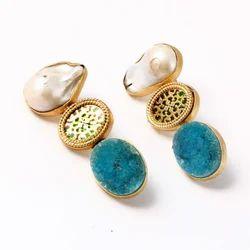 indiacz Druzy Earring, Size: mix