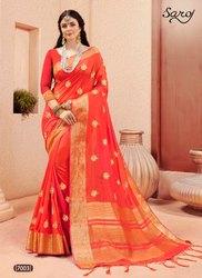 Ethnic Stylish Orange Designer Plain Saree