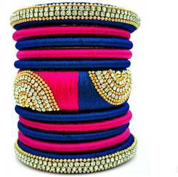Pink & Blue Silk Thread Bangle Set