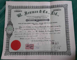W. Newman & Co. Ltd, Calcutta Share Certificate 1947 Red Seal British India