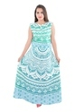 Indian Green Ombre Cotton Mandala Long Beach Frill Dress