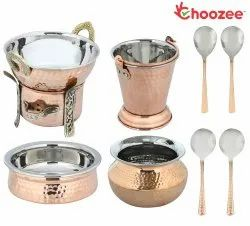 Choozee - Copper/Steel Serving Item Set of 9 Pcs (Including Bucket, Handi, Kadhai, Dhahi Handi, Food