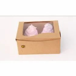 4 Cavity Brown Curve Window Cupcake Box