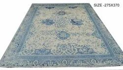 Embroidered Rectangular Silk Handknotted Carpet, For Home, Size: 275x370 Cm