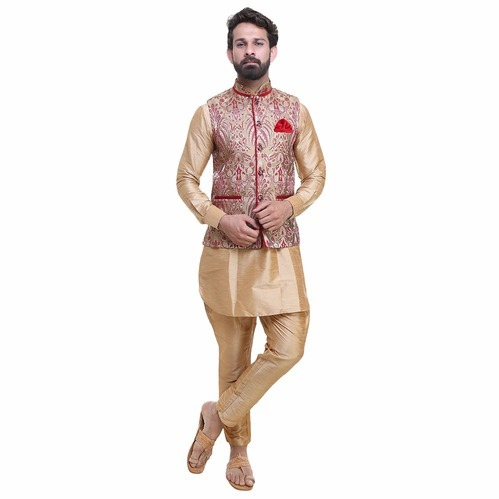 64db36d7d9 Dupion Silk Short Mens Party Wear Kurta Pajama With Nehru Jacket, Rs ...
