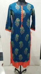 Cotton And Rayon Regular Wear And Casual Wear Double Layered Kurtis, Long Kurtis