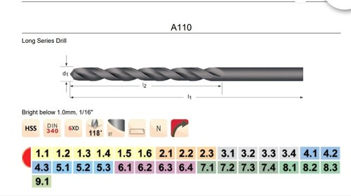 Dormer R1004.9 Jobber Drill Bright Coating 4.9 mm Head Diameter 52 mm Flute Length Carbide