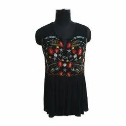 Sleeveless Black Ladies Embroidered Rayon Top