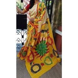 Party Wear Ladies Hand Printed Cotton Saree, 5.5 m (separate blouse piece), With Blouse