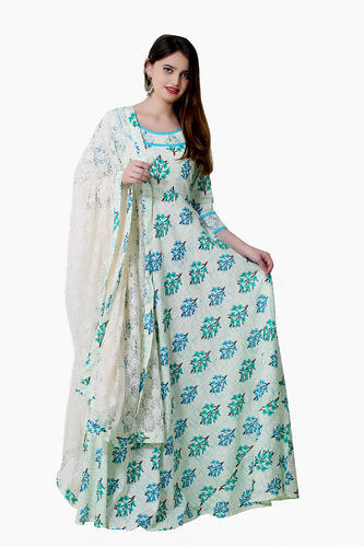 Cotton Printed Indo Western Gowns With Net Dupattas 130b4d5dc