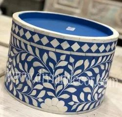 Blue Bone Inlay Cake Stand