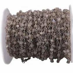 Labradorite Black Oxidized Wire Wrapped Gemstone Beaded Chain
