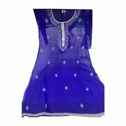 Full Sleeves Ladies Blue Embroidered Designer Kurti