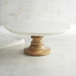 Marble Base Wood Cake Stand