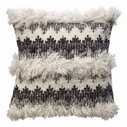 White And Black Cotton Boho Wanderer Cushion Pillow, Packaging Type: Packet, Bag