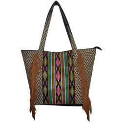 d039a50d81 Casual Wear Multicolor Ladies Jacquard With Suede Fringes Tote Bag