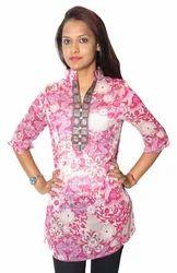Pink, White Ladies Short Kurti