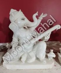 Sitar Playing Ganesha Marble Statue