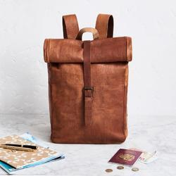 Roll- Top Leather Backpack