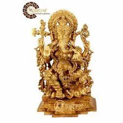 UR ASTRO Designer Brass Metal Ganesha Statue 19 Inch
