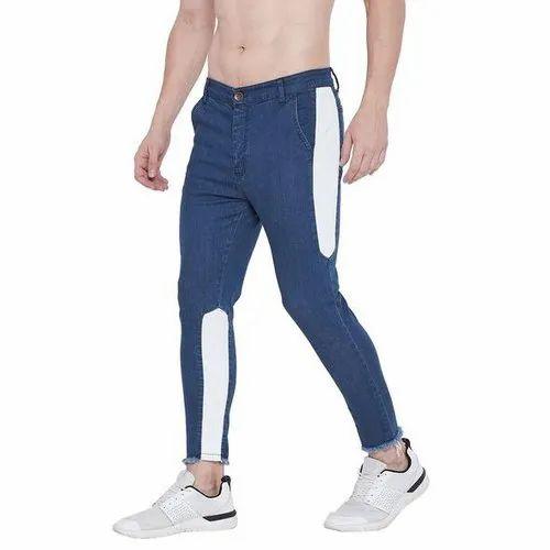 Slim Fit Men Blue Contrast Cropped Denim