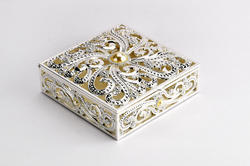 Enameled Square Jewellery Box-JB1028