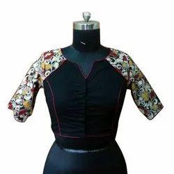 Khadi Ladies Black Printed Casual Blouse, Size: 30-46