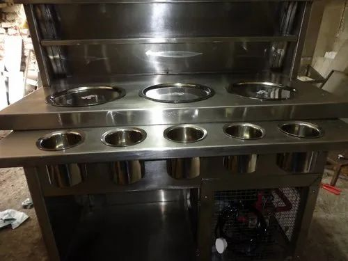 Stainless Steel Pani Puri Display Cooling Counter