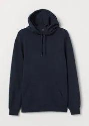 Men's Navy Blue Pullover Eco Smart Fleece Hooded Sweatshirt