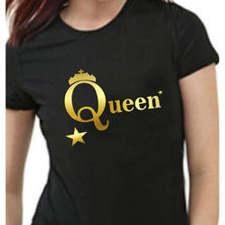 Hosiery And Polyester Vinyl Print On T Shirts