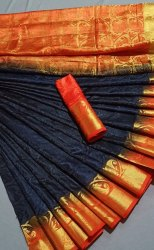 MM brand zari weaving Balaton Silk Saree, With blouse piece, 6.3m with blouse