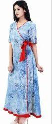 Hand Block Print Long Angrakha Gown