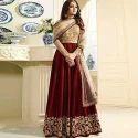 Maroon And Golden Bridal Wear Anarkali Suit