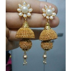 Artificial Pearl Gold Plated Imitation Earring