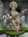 Multicolor Fiberglass Saraswati Statue, Size/dimension: H 30