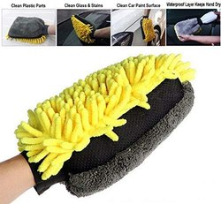CarSaaz Waterproof Multipurpose Microfiber Fringe Gloves