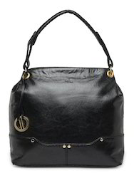 Yelloe Spacious Black Synthetic Leather Shoulder Bag With Co