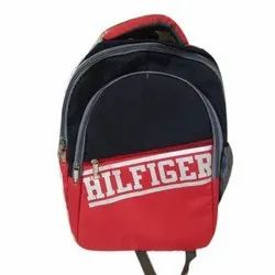 Black and Red Polyester Hilfiger School Backpack Bag