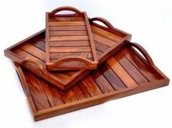 Brown Wooden Sheesham Wood Tray Set (Strips Design), For Kitchenware