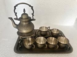 Brass Smokey Antique Heritage Tea Set With Tea Cups