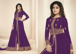 Party Wear Semi-Stitched Heavy Georgette Embroidery Work Salwar Suit, Size: free size