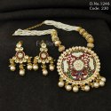 Traditional Vilandi Kundan Meenakari Pendant Necklace Set
