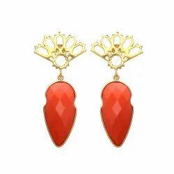 Orange Chalcedony Gemstone Earrings