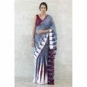 Cotton Gray Mulmul Hand Batik Printed Saree, Length: 6.3 M